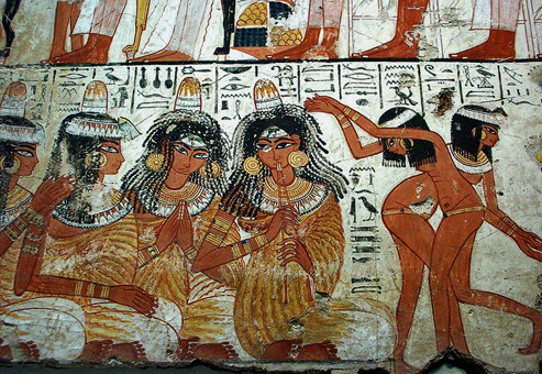 Ancient-Egyptian-Tomb-Art-detail,-a-feast-for-Nebamun,