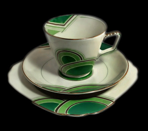 Art Deco Geometric Trio,-Handpainted Grosvenor China Kelly Green, Mint and Cream-Cup-Saucer-Teaplate-1933