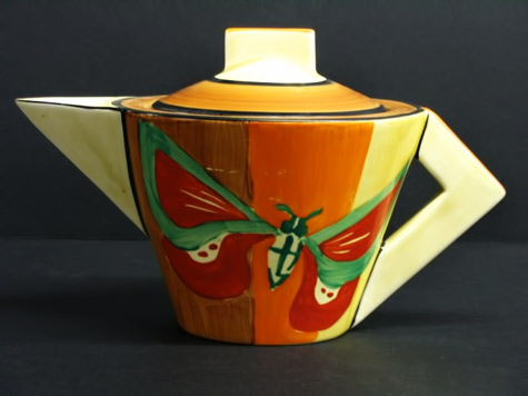 Butterfly-Conical-Teapot,-Clarice-Cliff - art deco