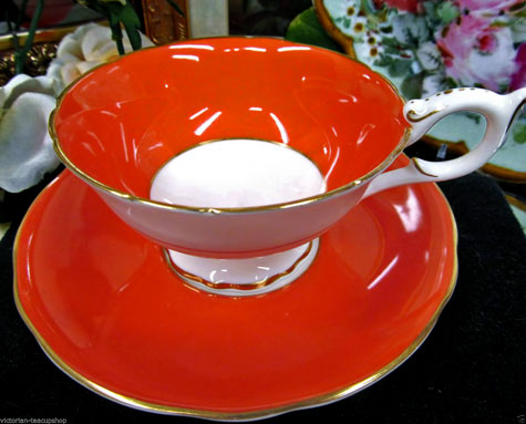 COALPORT-retro-orange-TEA-CUP-AND-SAUCER-fancy-design-teacup-gold-gilt