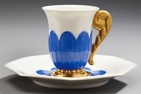Cup flared on a pedestal-and-saucer-octagonal-white-porcelain-decorated-with-blue-flowers-accented-with-gold-1925