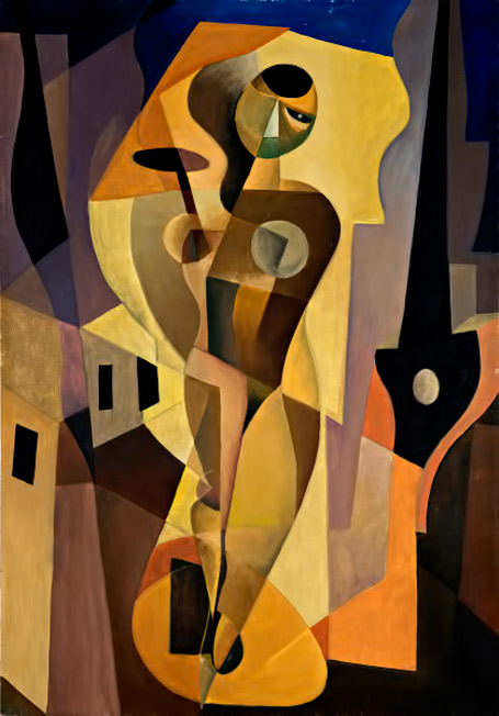 Enrico-Prampolini 1915 Woman-+-Light-+-Environment futurist cubist painting of a woman