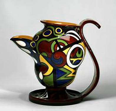 Phobia-antimitativa Tullio Mazzotti-d'Albisola - Mug-acentric-'Fobia-antimitativa'-1928, -terracotta-painted