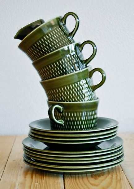 Green-retro-coffee-set Stavangerflint, made in Norway