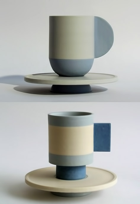 Helene-Morbu contemporary cups in blue