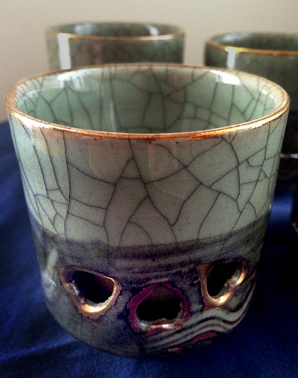 Japanese-Somayaki-Somaware-Double-Wall-Tea-Cups-Crackle-Glaze-Gold-Accents---eBay