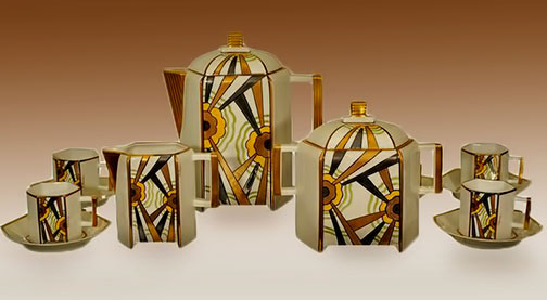 Limoges-art-deco-tea set with futurist patterns