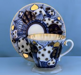 Lomonosov Russian teacup and saucer - blue, white and gold