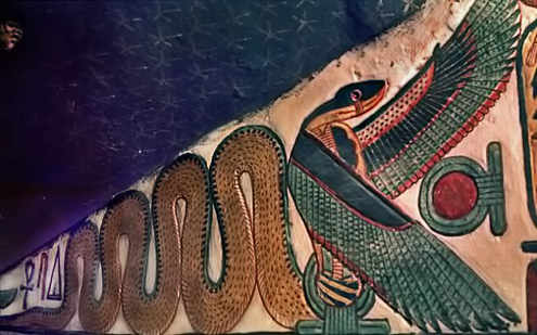 Painting-of-a-winged-cobra-from-the-staircase-leading-to-the-burial-chamber-of-Queen-Nefertari