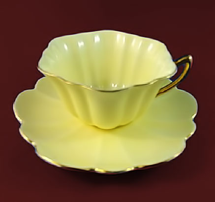 Pale-Yellow-with-Gold-Handle-Shelley-Tea-Cup-and-Saucer-Set