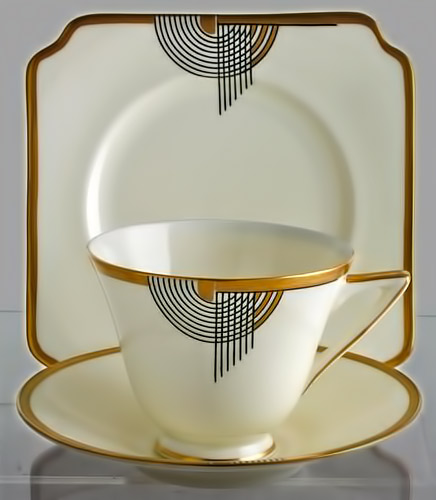 Rare Royal Doulton Art Deco Trio-in Tango Pattern