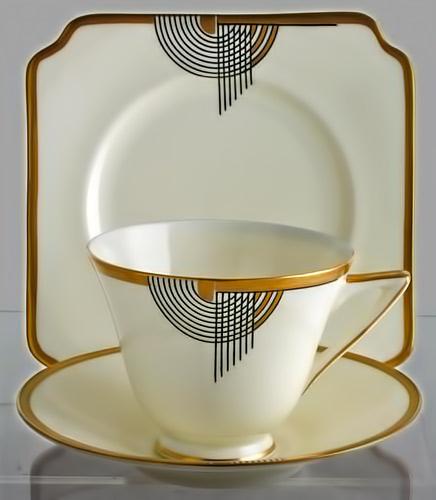 Rare Royal Doulton Art Deco Trio-in Tango Pattern