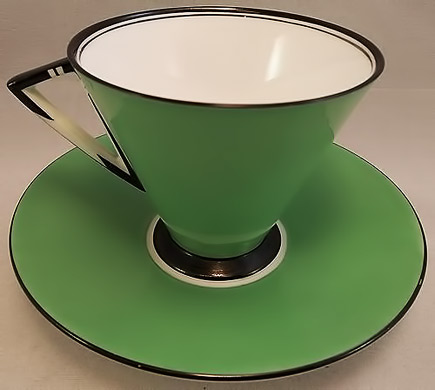 Vintage-Shelley-Art Deco cup - apple green, black and white
