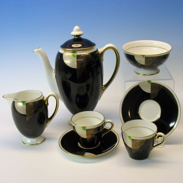 Black and white Royal-Doulton-Art-Deco-TANGO-tea-set-tea-for-two