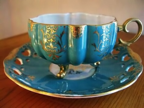 Royal Halsey Teacup and Saucer-Layla Blackshear-fkickr Turquoise with gold highlights