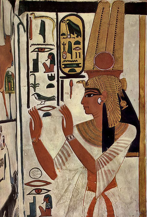 Wall-painting-of-Nefertar i-  Nefertari Tomb scenes, Valley of the Queens, Egypt