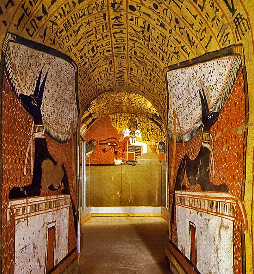 Two Anubis Dogs On The Walls Of The Tomb Of Pashedu