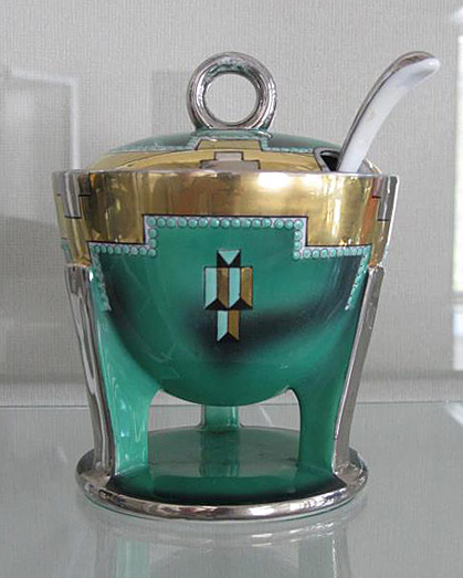 Art deco-noritake sugar bowl in green-sllver and gold