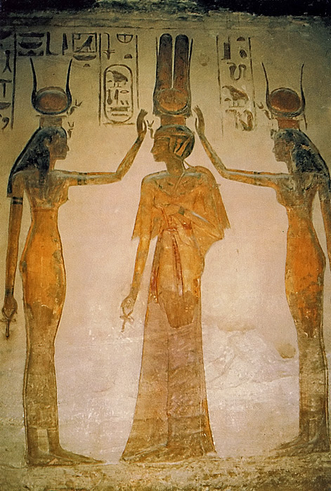 guenther-eichhorn-com-Painting-inside the Queens Temple of Abu Simbel of the Goddesse -Isis-(right) and Hathor-(left) blessing-the Queen
