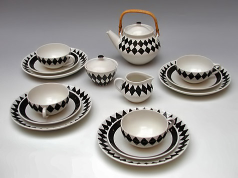 Karin Bjorquist tea set for Gustavsberg - black and white diamond pattern