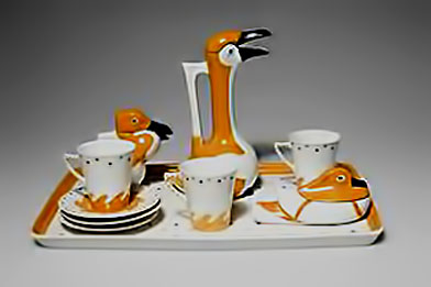 sandoz-service-complete in white, orange and black art deco