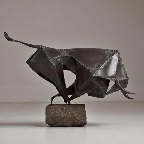 Brutalist-Metal-Sculpture-of-a-Charging-Bull-mid-1960s