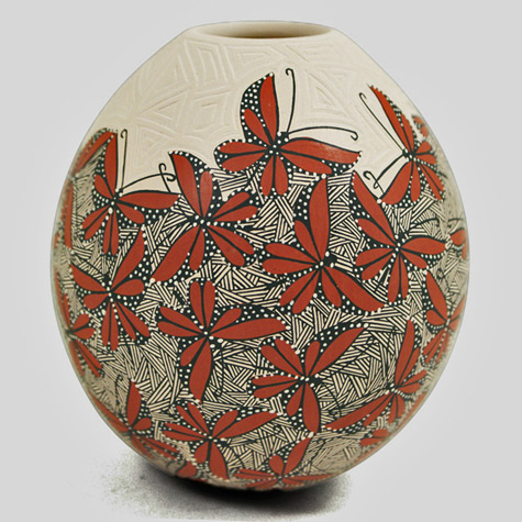 Cindy Perez butterfly olla in orange,black and white