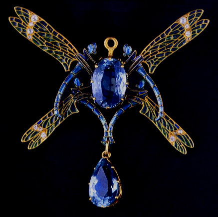 Dragonfly Brooch---Rene Lalique Art Nouveau blue sapphires and gold