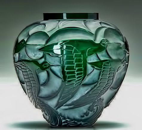 Lalique Art Deco Courlis-vase-of-deep-green-glass-with-whitish-patina