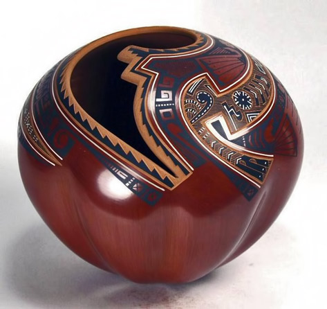 Mata Ortiz Pottery by Baudel Lopez polished pot in red and black