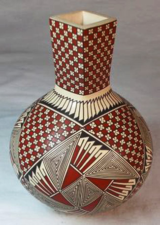 Mata Ortiz Pottery, tall-necked small pot by Blanca Quezada red-white and black