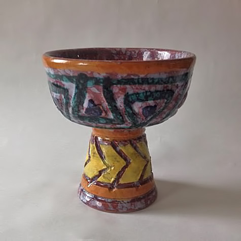 Mid-Century-Italian-Brutalist-Footed-Bowl,-Made-In-Italy