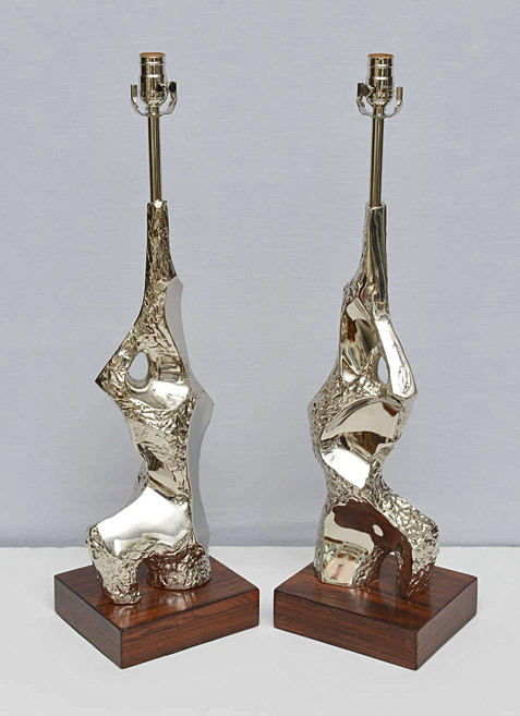 Pair of Chrome Brutalist Laurel Lamps