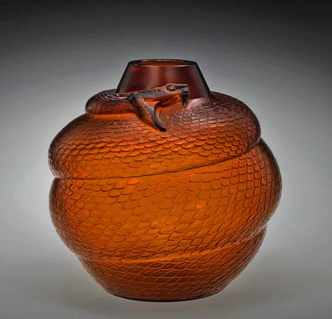 Amber Serpent-(Snake) vase 1924 Rene Lalique