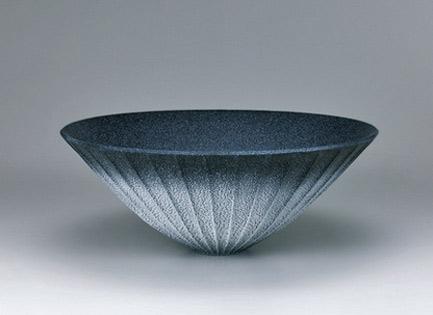 Shino dark blue flower vessel. GALLERY JAPAN Sakai Hiroshi