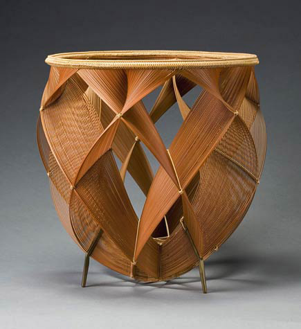 shimmering of heated air, japanese bamboo basket by Shono Shounsai (Living National Treasure) 1969