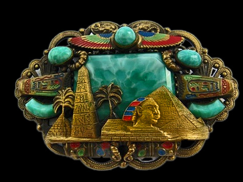 ART-DECO-NEIGER-BROOCH-EGYPTIAN-REVIVAL-PIN-CZECH-1920'S-SPHINX-FILIGREE-RARE