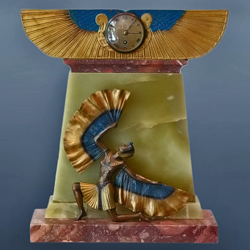 An Exquisite Art Deco Mantel Clock in green and pink marble with a bronze Egyptian figurine
