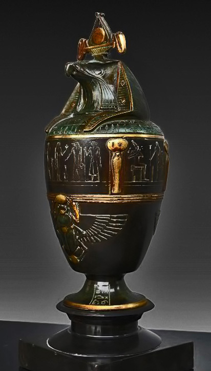 Art-Deco-Egyptian-Revival-canopic-jar,-French,-1920's-