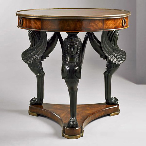 Egyptian Revival Table 19th Century   With Three Carved Black Sphinx Legs