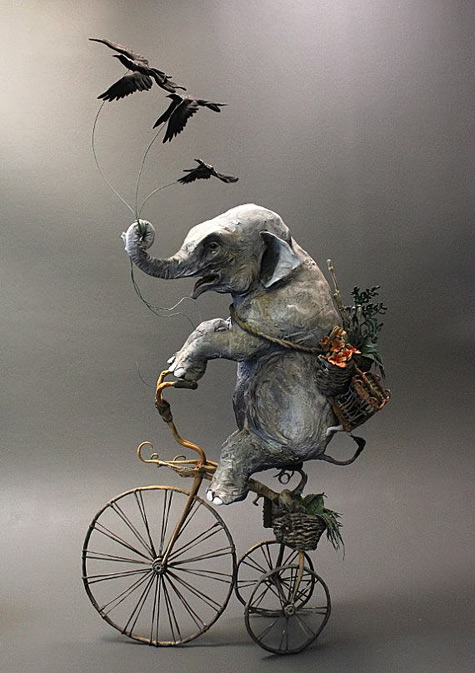 Elephant-with-Crows-by-creaturesfromel-on-Etsy Ellen-Jewett-Sculpture