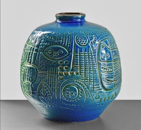 Carstens-Tönnieshof mid century vessel blue glaze