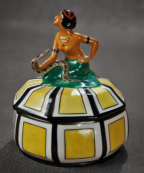 German-Porcelain-Art-Deco-Powder-Box-'Egyptian-Snake-Charmer'