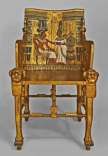 Egyptian Revival Polychrome Carved Throne Chair Tutankhamun