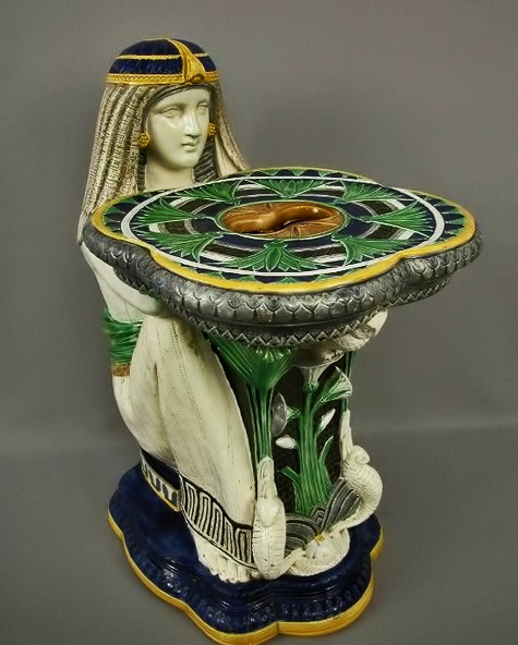 Majolica Moore & Co Egyptian Garden Seat.Seated Egyptian lady