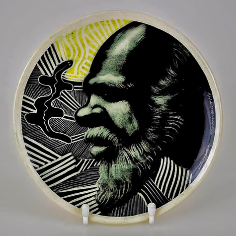 TOM-SANDERS-Pottery-PLATE---Aboriginal-Painting-by-WESLEY-PENBERTHY