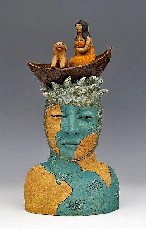 clay-ceramic-sculpture-animal-dog-boat-by-sara-swink