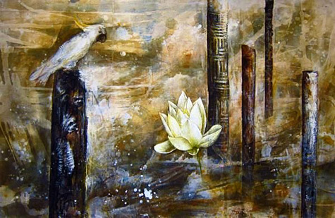 Zhou Xiaoping painting of a cockatoo ,white water lily and Aboriginal totems