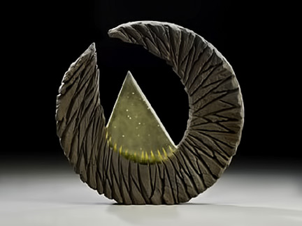 Alex Bernstein sculpture - glass triangle within a crescent moon