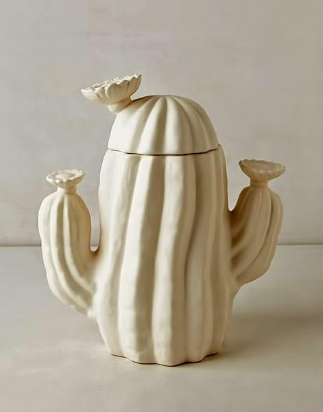 White-ceramic cactus cookie jar